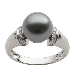 Sterling Silver Black Tahitian Pearl and Diamond Ring (H-I, SI1-SI2) (10-11 mm)