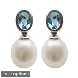 Sterling Silver White Freshwater Pearl Drop Pearl and Black Onyx or Blue Topaz Dangle Earrings (8-8.5 mm)