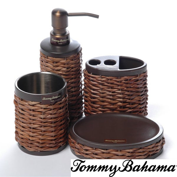 Tommy Bahama Retreat Wicker Bath Accessory 4 Piece Set