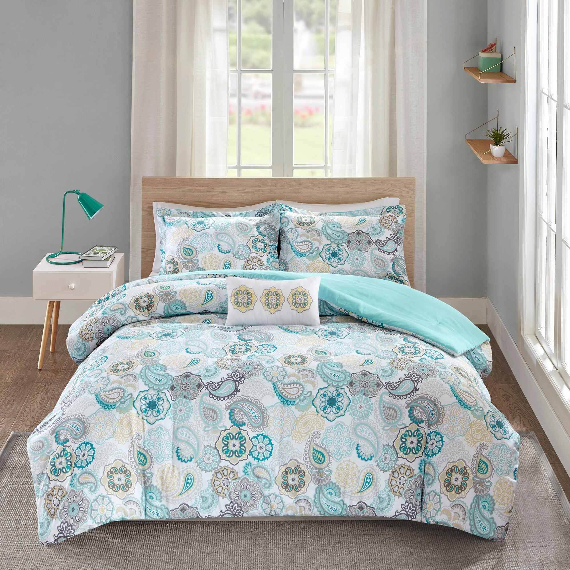 all blue comforter intelligent set amazon size pattern geometric includes dp piece king teal seasons com california decorative senna design