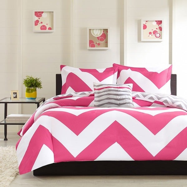 Mi Zone Virgo Reversible Pink Duvet Cover Set