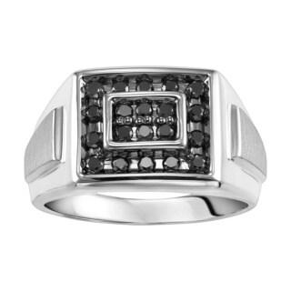 Cambridge Men's Sterling Silver 1/2ct TDW Black Diamond Ring