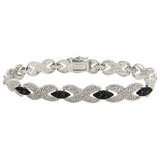 Finesque Silver Overlay Black Diamond Accent 'XOXO' Bracelet