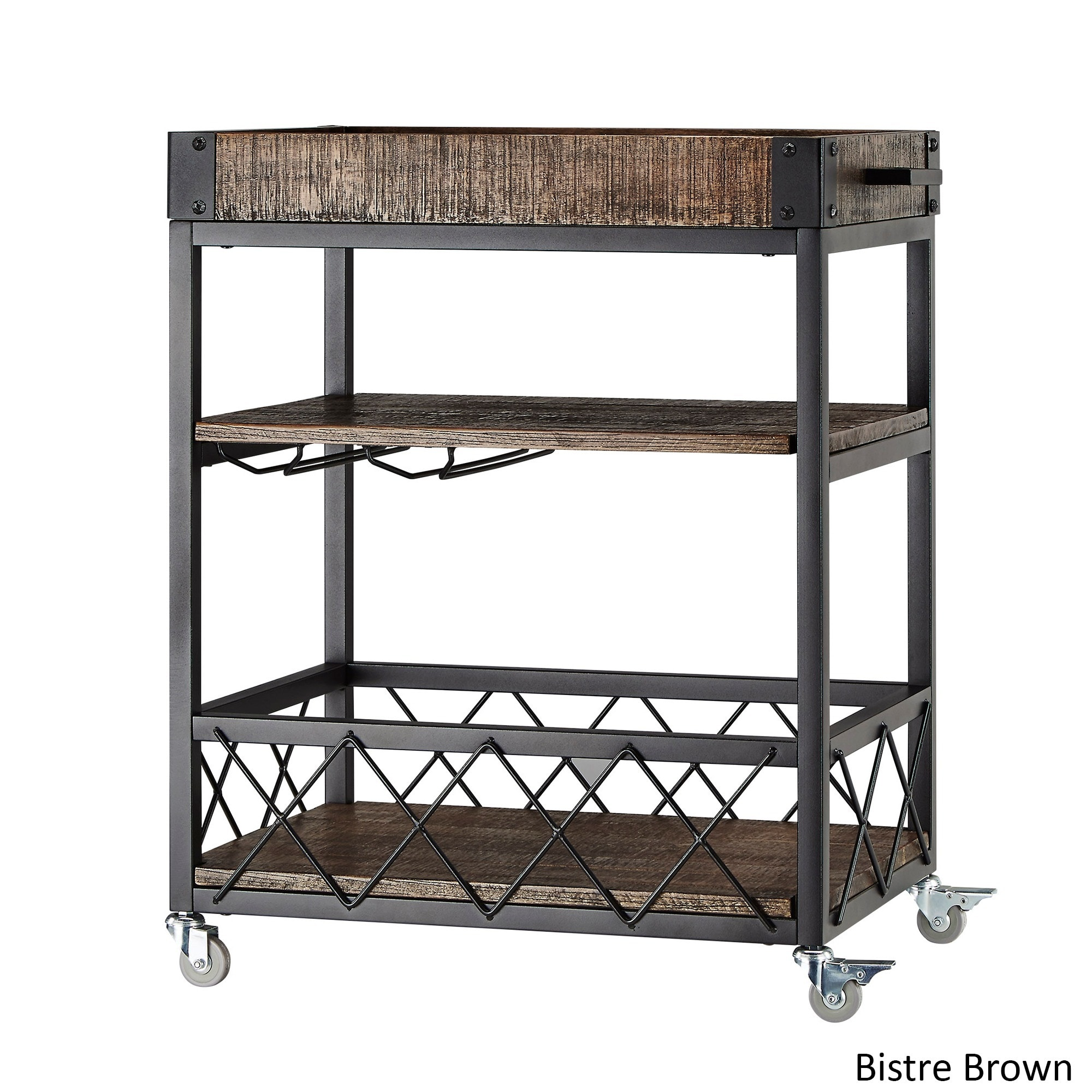 Myra Rustic Mobile Serving Cart with Wine Inserts and Removable Tray ...