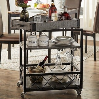Myra II Rustic Mobile Serving Cart with Wine Inserts and Removable Tray Top by iNSPIRE Q Classic