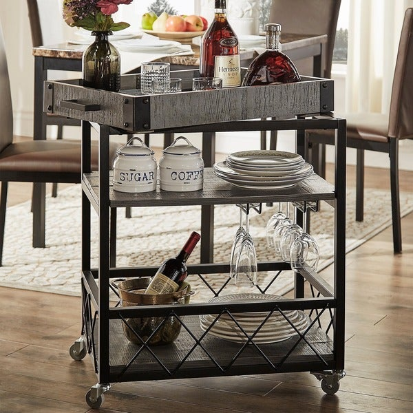 myra ii rustic mobile serving cart with wine inserts and. Black Bedroom Furniture Sets. Home Design Ideas