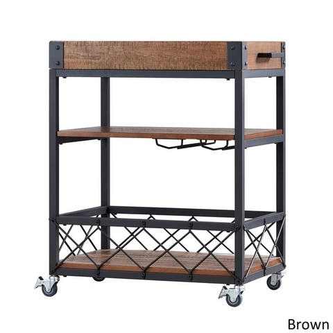 Myra Rustic Mobile Serving Cart with Wine Inserts and Removable Tray Top by iNSPIRE Q Classic