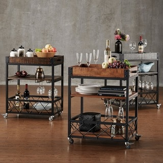Myra Rustic Mobile Serving Cart with Wine Inserts and Removable Tray Top