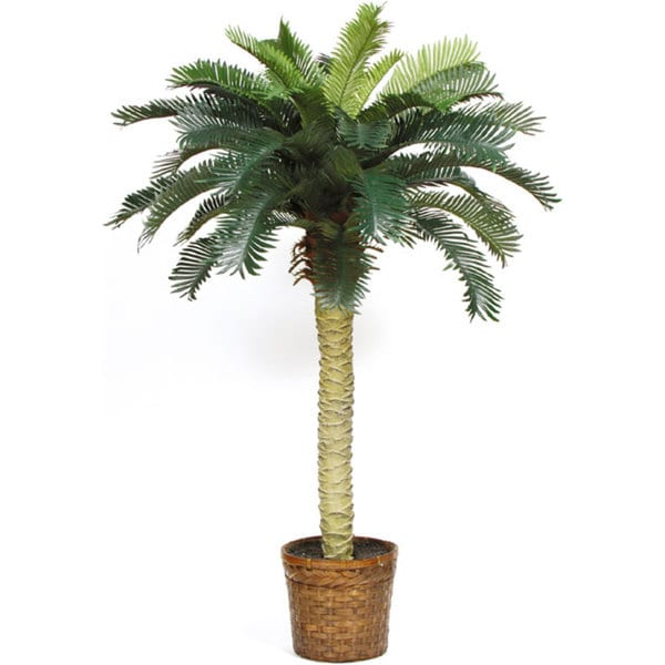 silk palm tree 4 foot potted indoor outdoor tropical decor fake artificial plant ebay. Black Bedroom Furniture Sets. Home Design Ideas