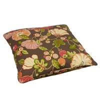 Brown Floral Corded Outdoor/ Indoor Large 26-inch Floor Pillow