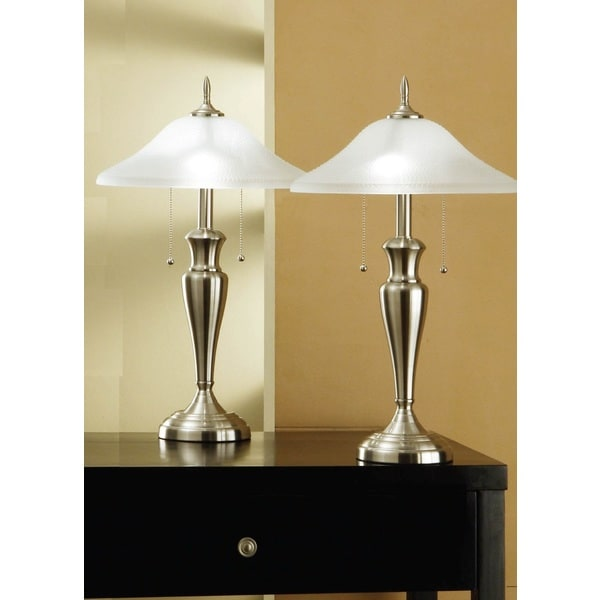 Artiva usa 2 piece classic cordinates 24 inch brushed steel table artiva usa 2 piece classic cordinates 24 inch brushed steel table lamps with high aloadofball Choice Image
