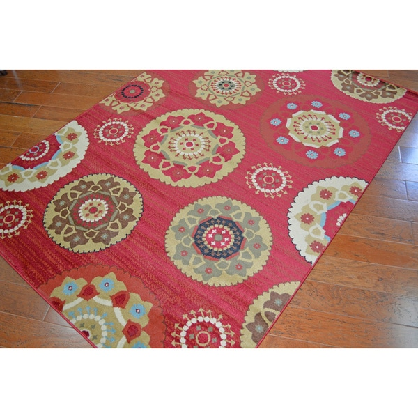 Machine-woven Deco Pinwheel Claret Area Rug (7'10x9'10)