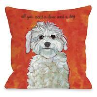 Love & A Dog Throw Pillow