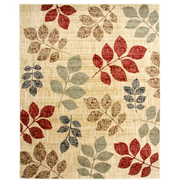 Contemporary Floral Leaves Area Rug (7'10 x 9'10)
