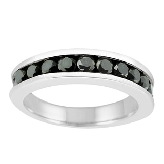 14k White Gold 1ct TDW Black Diamond Eternity Band