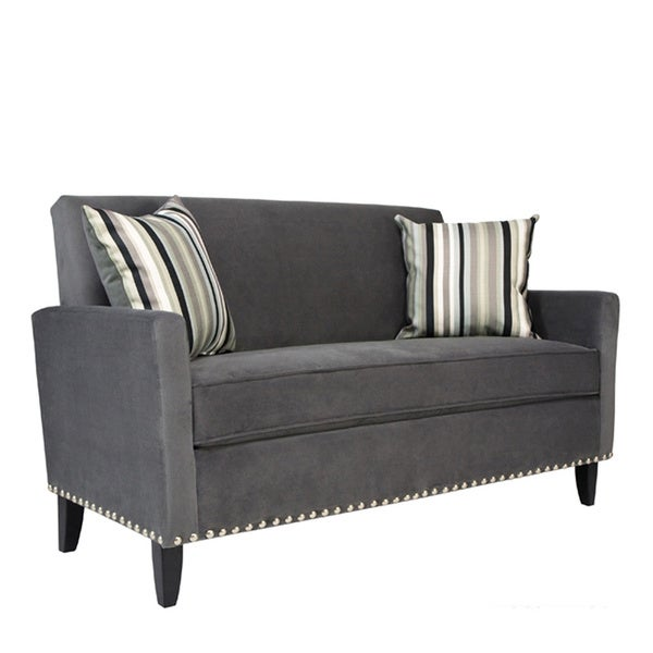 Handy Living Sutton Antique Silver Gray Sofa with a Mid Century Black Stripe Pillow