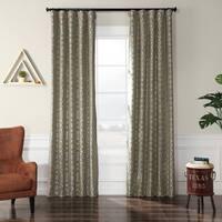 Exclusive Fabrics Filigree Blue Flocked Faux Silk Curtain Panel