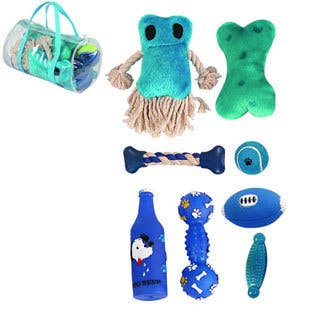 Pet Life 8-piece Dog Toy Set (Option: Blue)|https://ak1.ostkcdn.com/images/products/8447902/P15741758.jpg?impolicy=medium