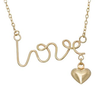 Gioelli 14k Yellow Gold 'Love' and Puffed Heart Charm Necklace