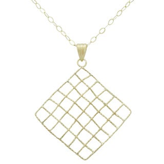 Gioelli 14k Yellow Gold Basketweave Square Necklace