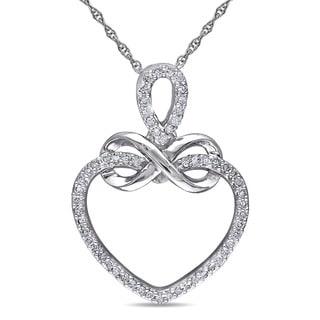Miadora 10k White Gold 1/5ct TDW Diamond Heart Infinity Necklace