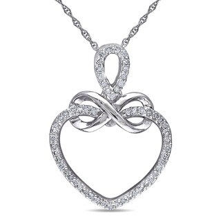 Miadora 10k White Gold 1/5ct TDW Diamond Heart Infinity Necklace