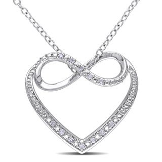 Miadora Sterling Silver Diamond Heart Infinity Necklace (G-H, I2-I3)