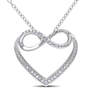 Miadora Sterling Silver Diamond Heart Infinity Necklace