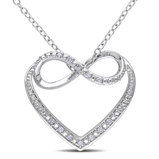 Miadora Sterling Silver Diamond Heart Infinity Necklace