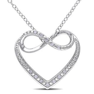 Infinity diamond necklaces for less overstock miadora sterling silver diamond heart infinity necklace mozeypictures