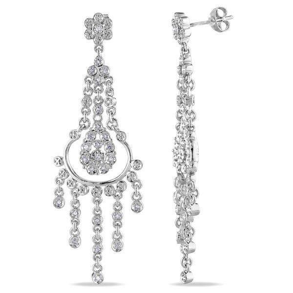 Miadora Sterling Silver 1/5ct TDW Diamond Chandelier Earrings