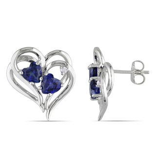 Miadora Sterling Silver Created Blue Sapphire and Diamond Heart Earrings (H-I, I2-I3)