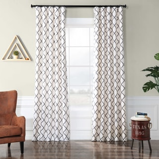 Exclusive Fabrics Pavillion Pearl Flocked Faux Silk Curtain Panel