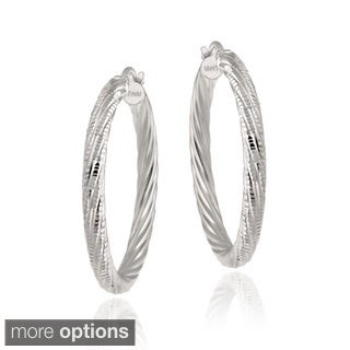 Mondevio Two-tone Silver Diamond-cut Hoop Earrings