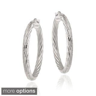 Mondevio Two-tone Silver Diamond-cut Hoop Earrings