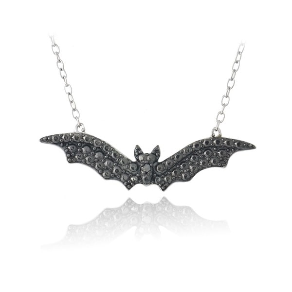 DB Designs Sterling Silver Black Diamond Bat Necklace