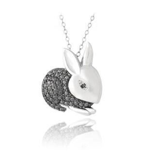 DB Designs Sterling Silver Black Diamond-accent Bunny Rabbit Necklace