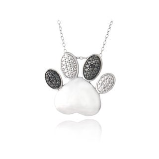 DB Designs Sterling Silver Black Diamond-accent Heart Paw Print Necklace