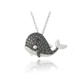 DB Designs Sterling Silver Black Diamond-accent Whale Necklace