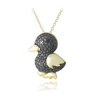 DB Designs 18k Gold over Silver Black Diamond-accent Duck Necklace