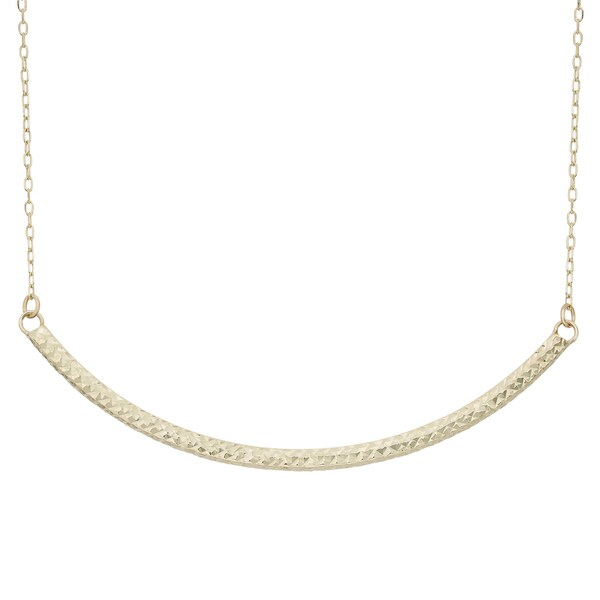 5f7702112711b Shop Gioelli 14k Yellow Gold Diamond-cut Curved Bar Necklace - Free ...