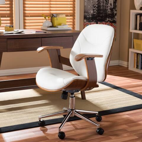 Baxton Studio Rathburn Walnut Frame Black or White Faux Leather Modern Office Chair