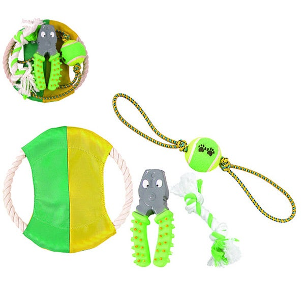 Pet Life 4-piece Rubber/ Rope/ Tennis Ball Dog Toy Set