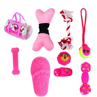 Pet Life 8-piece Pink Dog Toy Set