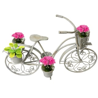 Casa Cortes Antique White Bicycle Garden Patio Planter