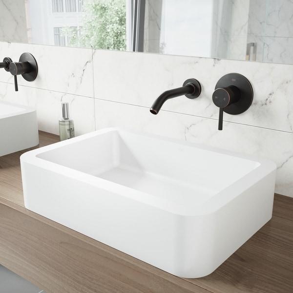 VIGO Olus Antique Rubbed Bronze Wall Mount Bathroom Faucet with Pop-up