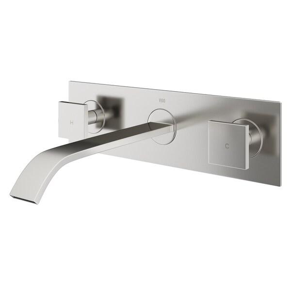 VIGO Titus Bathroom Wall Mount Faucet In Brushed Nickel