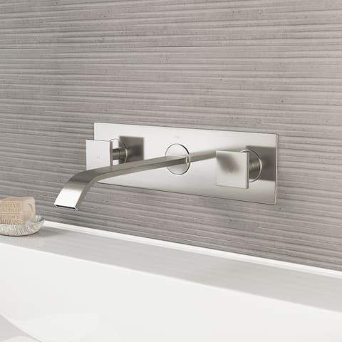 VIGO Titus Brushed Nickel Wall Mount Bathroom Faucet