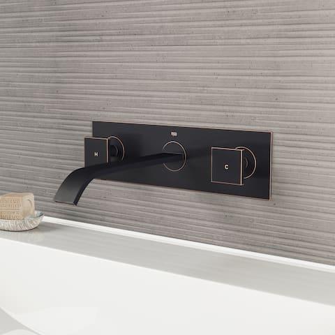 VIGO Titus Antique Rubbed Bronze Wall Mount Bathroom Faucet and Pop-up