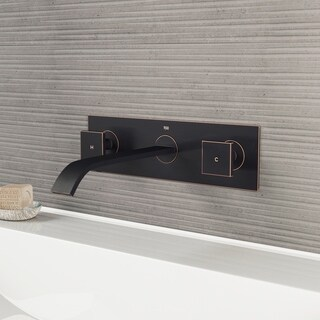 VIGO Titus Bathroom Wall Mount Faucet in Antique Rubbed Bronze with Pop Up